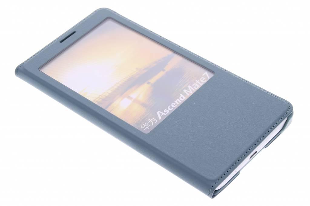 Staalblauwe luxe slim booktype hoes met venster voor de Huawei Ascend Mate 7