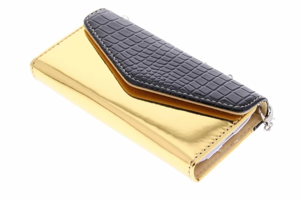 Zwarte krokodil design portemonnee + hardcase voor de Samsung Galaxy S4 Mini