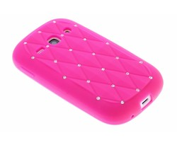 Fuchsia siliconen hoesje met strass Samsung Galaxy Fame