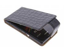 Zwart krokodil flipcase Sony Xperia M
