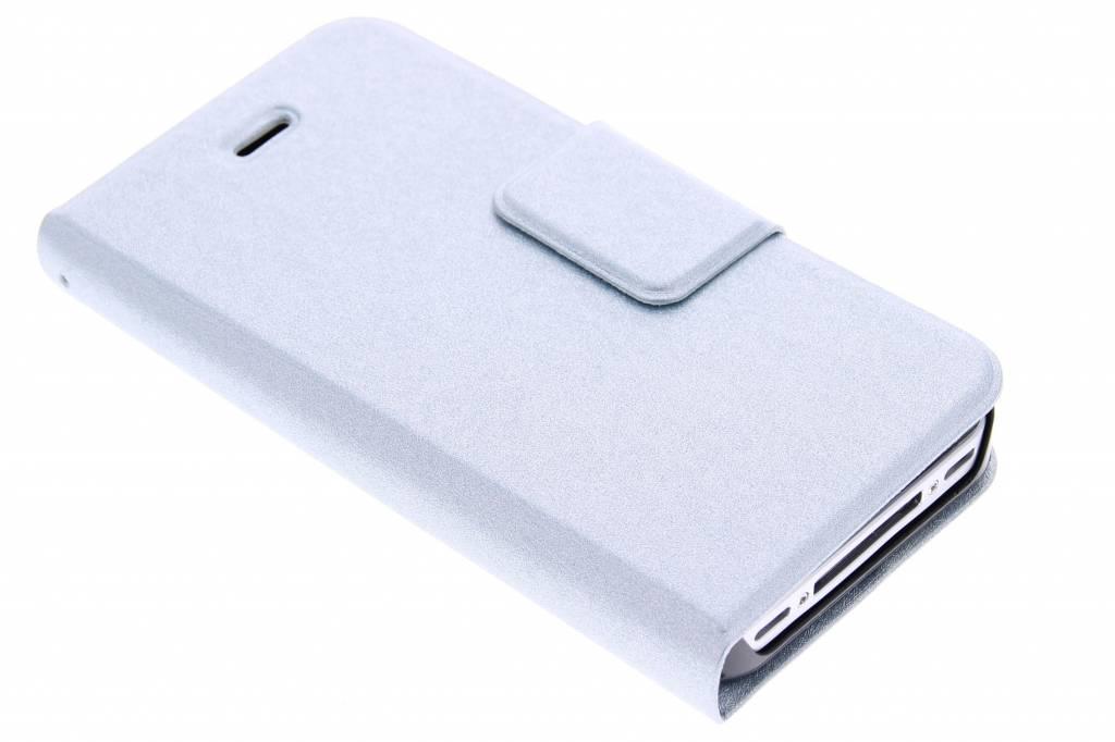 Lichtblauwe glanzende elegante booktype hoes voor de iPhone 4 / 4s