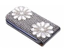 Zwart/wit bloem glazen flipcase hoesje Galaxy S3 Mini