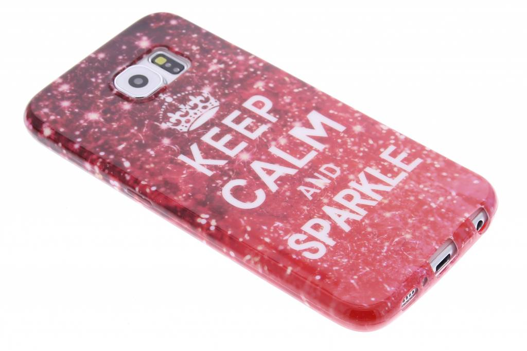Keep calm and Sparkle design TPU siliconen hoesje voor de Samsung Galaxy S6