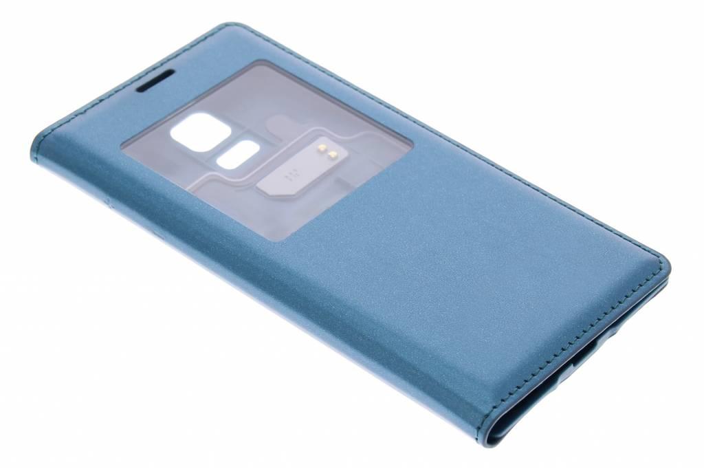 Metallic blauw/groen flipcover met venster voor de Samsung Galaxy S5 Mini