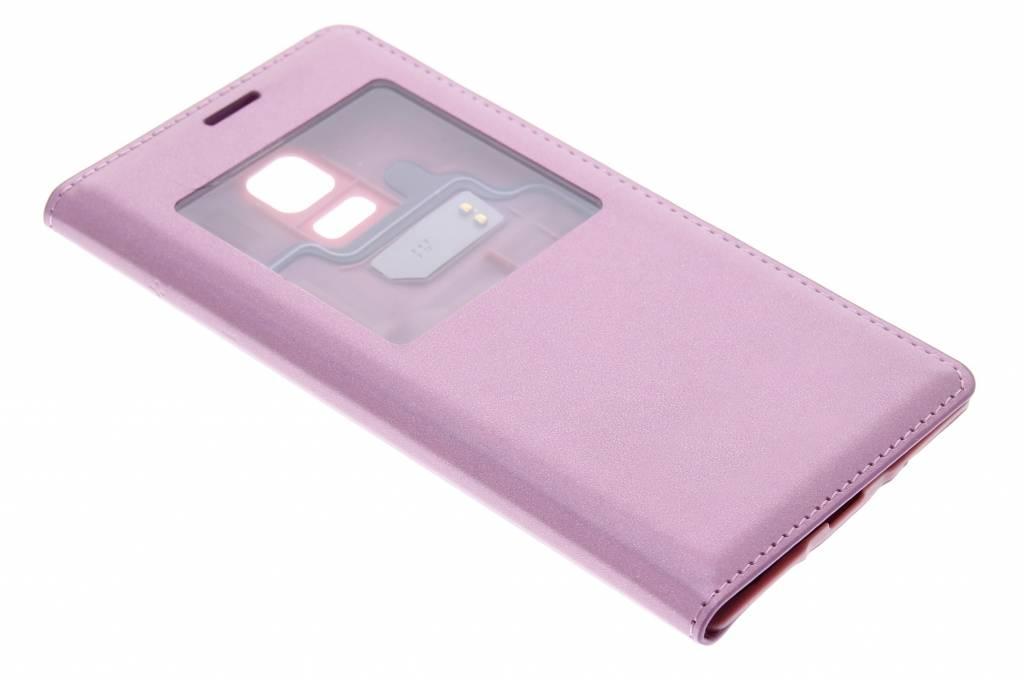 Metallic roze flipcover met venster voor de Samsung Galaxy S5 Mini