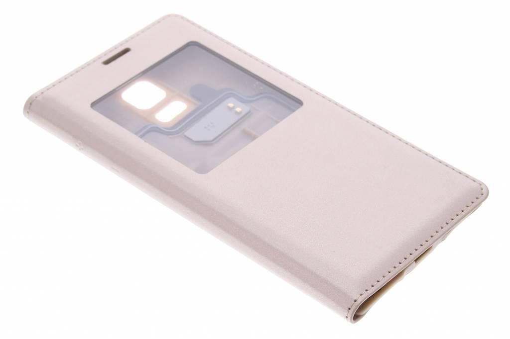 Metallic goud flipcover met venster voor de Samsung Galaxy S5 Mini