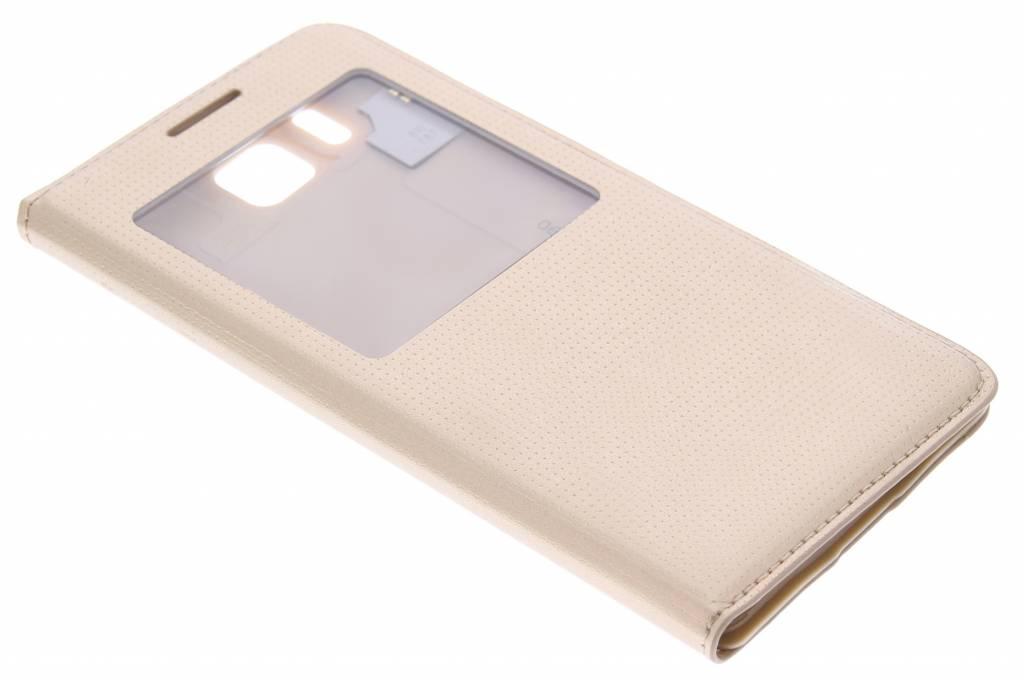 Gouden flipcover met venster voor de Samsung Galaxy Alpha