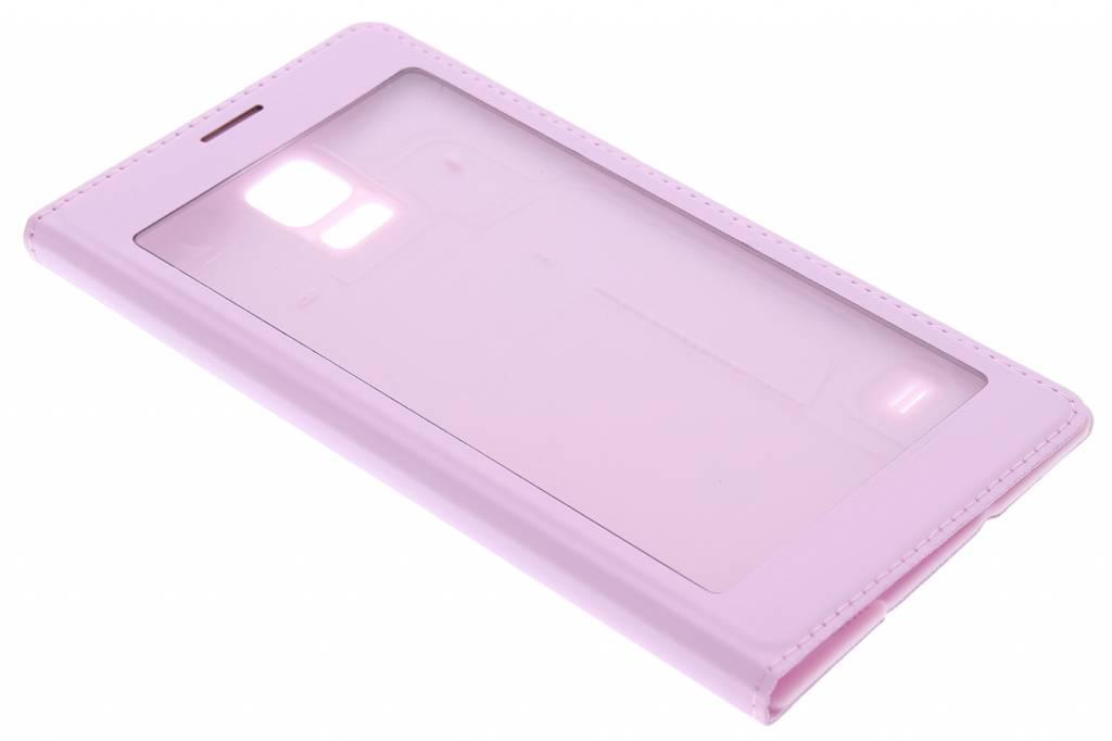 Roze flipcover met venster voor de Samsung Galaxy S5 (Plus)