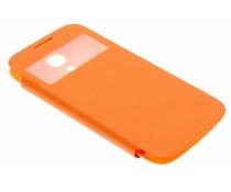 Oranje flipcover met venster Samsung Galaxy S4 Mini