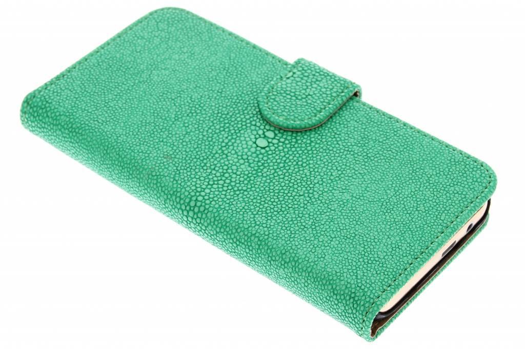 Groene glanzend ribbelige booktype hoes voor de HTC One M9
