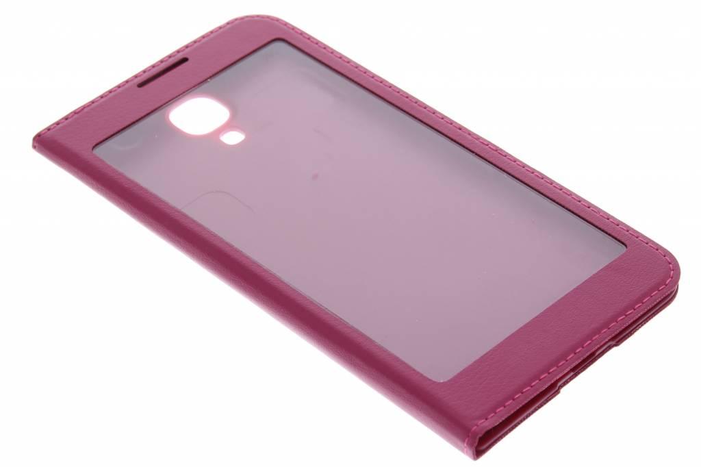 Fuchsia flipcover met venster voor de Samsung Galaxy S4