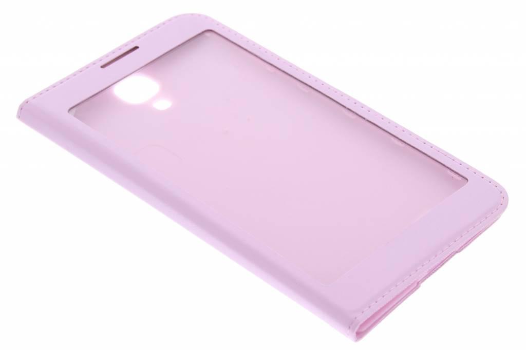 Roze flipcover met venster voor de Samsung Galaxy S4