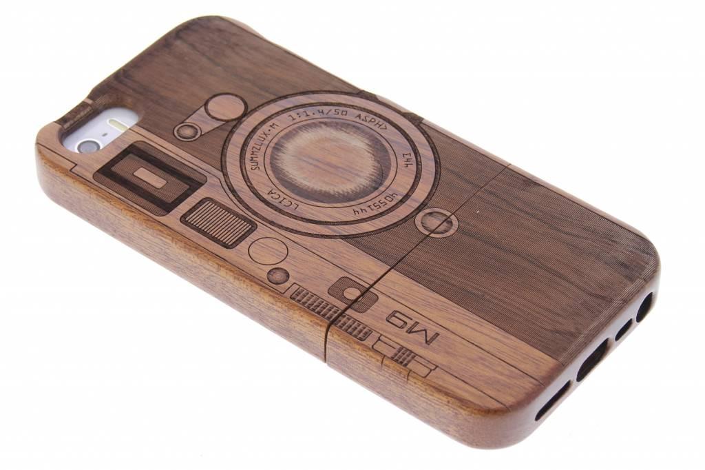 Donkerbruin houten hardcase hoesje met print voor de iPhone 5 / 5s / SE