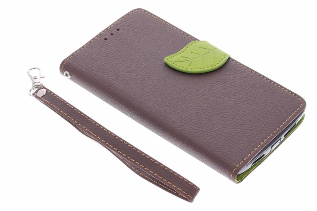 Bruine blad design TPU booktype hoes voor de OnePlus One