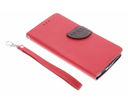 Rood blad design TPU booktype hoes OnePlus One