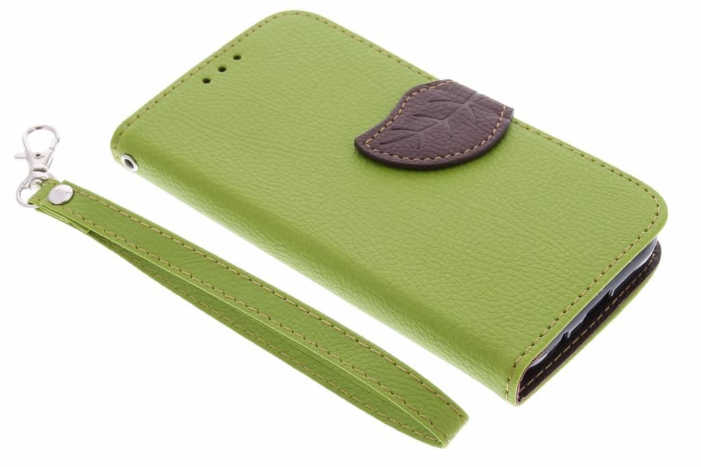 Groene blad design TPU booktype hoes voor de Huawei Ascend Y550