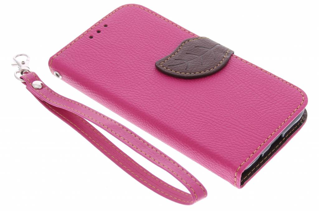 Fuchsia blad design TPU booktype hoes voor de Huawei Ascend Y550