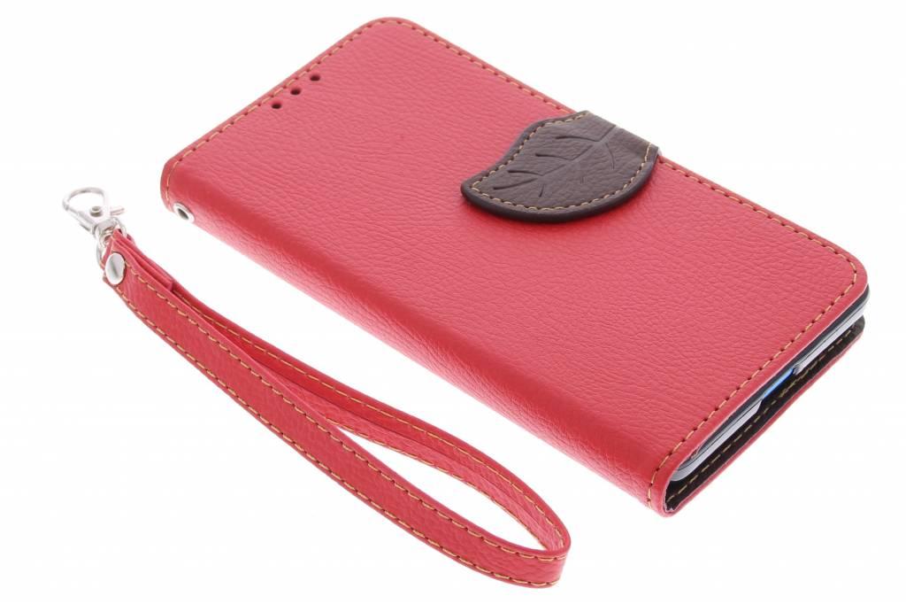 Rode blad design booktype hoes voor de Microsoft Lumia 535