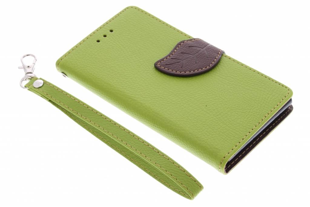 Groene blad design TPU booktype hoes voor de Huawei Ascend G6