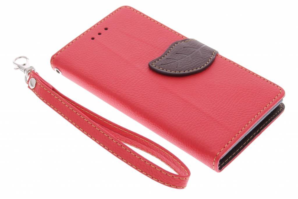 Rode blad design TPU booktype hoes voor de Huawei Ascend G6