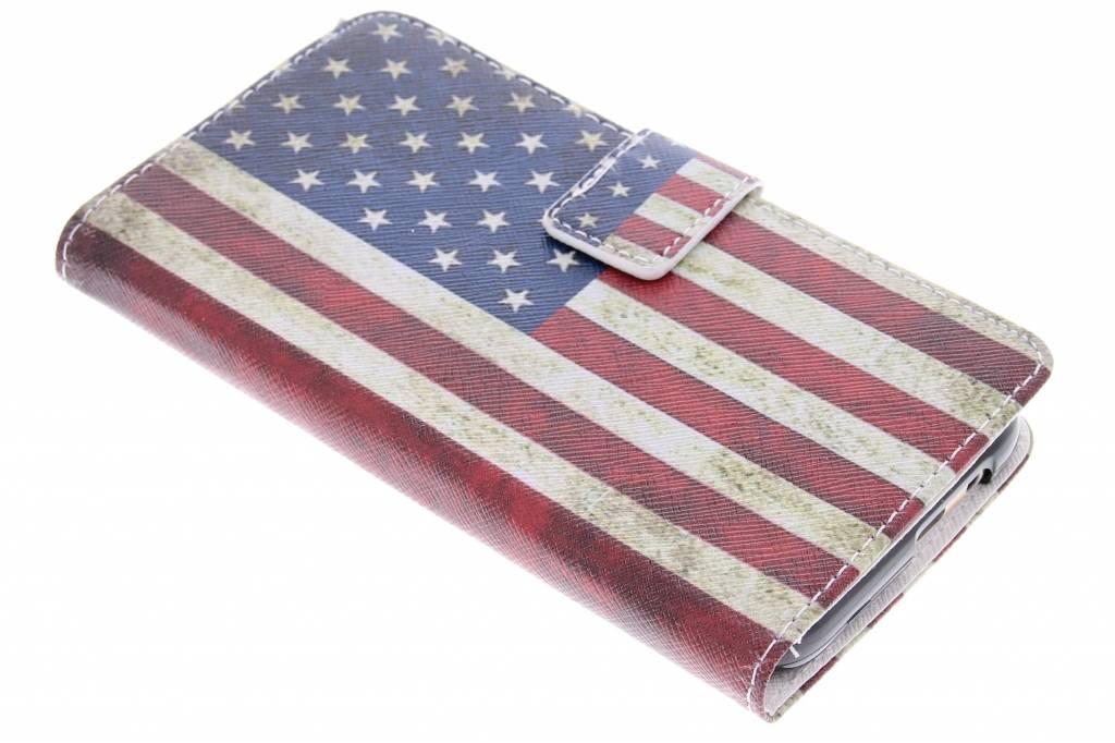 Amerikaanse vlag design TPU booktype hoes voor de HTC One M9
