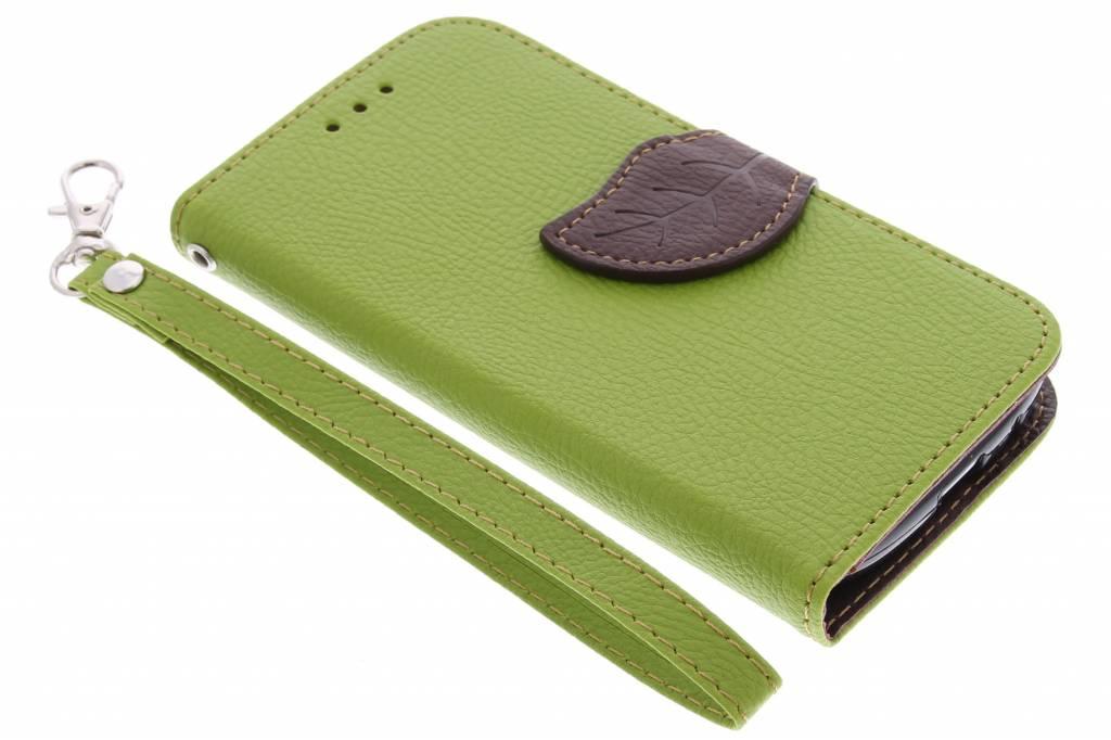 Groen blad design TPU booktype hoes voor de Samsung Galaxy Ace 4