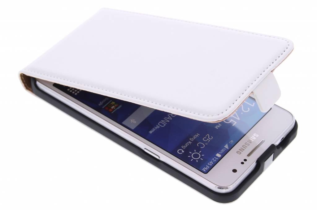Witte luxe flipcase voor de Samsung Galaxy Grand Prime