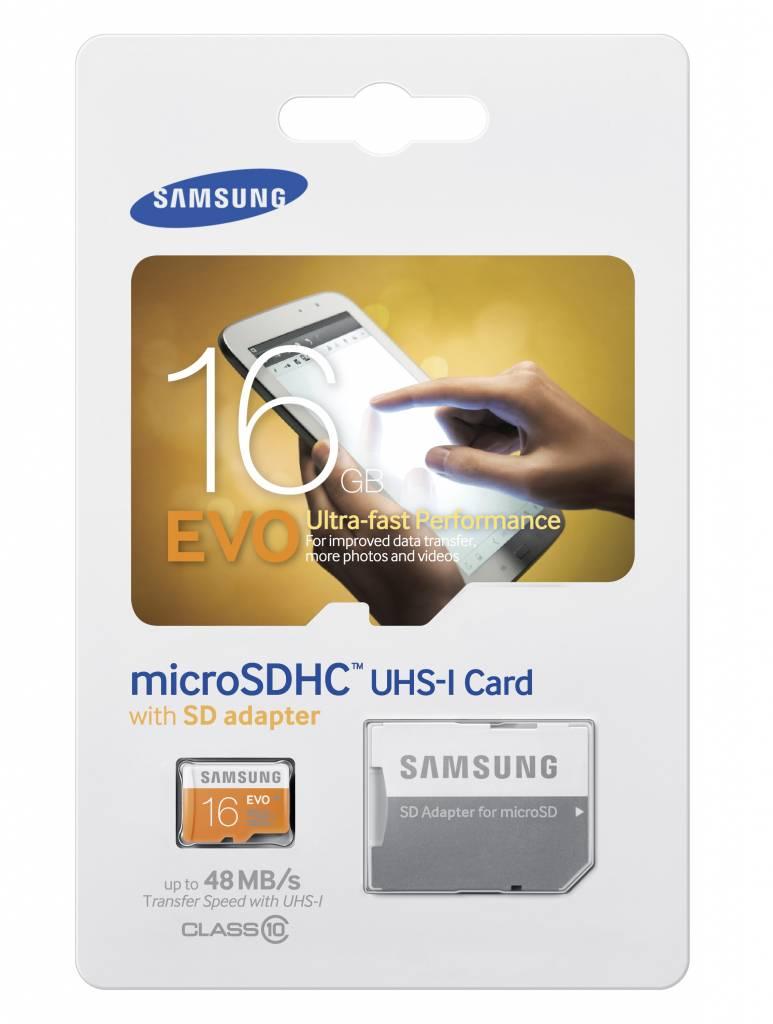 Image of 16GB EVO microSD geheugenkaart klasse 10 + SD adapter