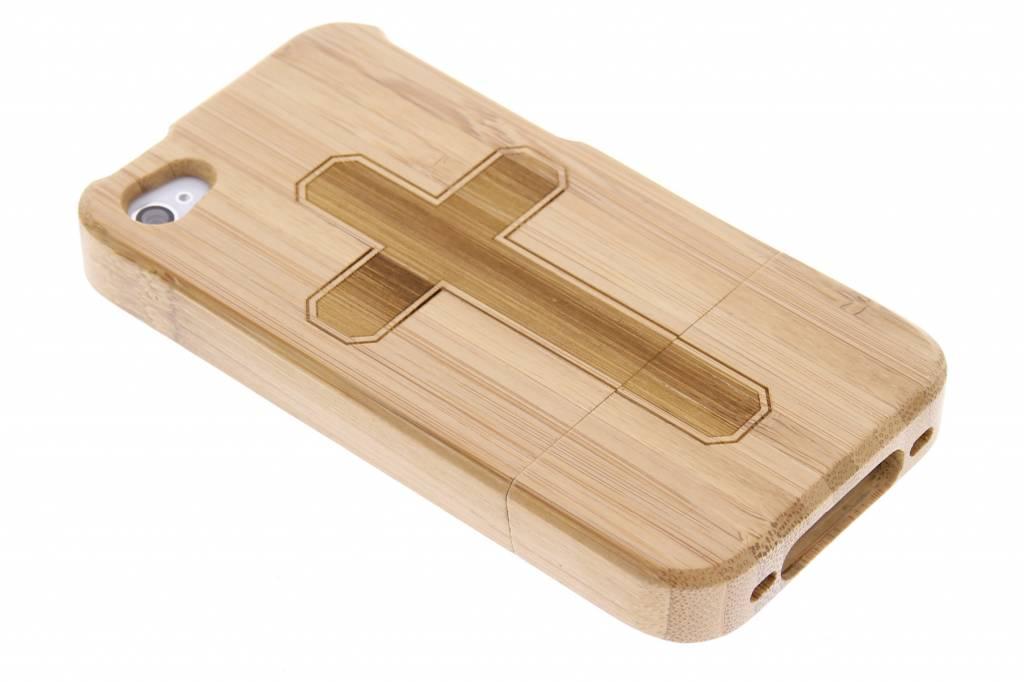 Houten hardcase hoesje met print voor de iPhone 4-4s