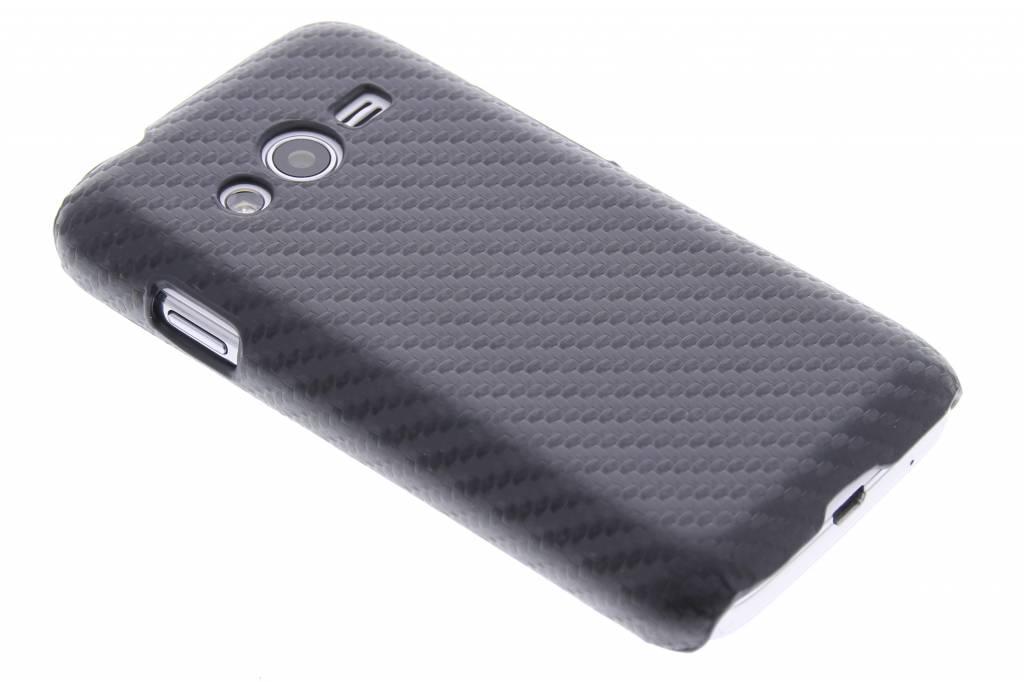 Zwart carbon look hardcase hoesje voor de Samsung Galaxy Trend 2 (Lite)