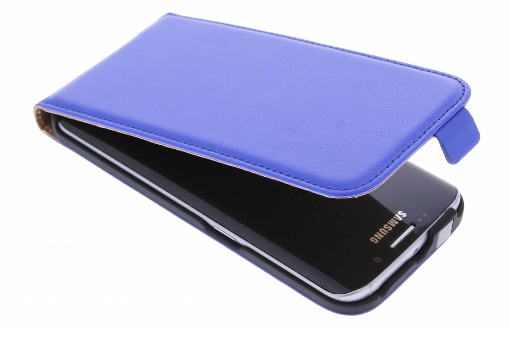 Blauwe luxe flipcase voor de Samsung Galaxy S6 Edge