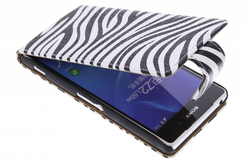 Zebra flipcase voor de Sony Xperia Z2
