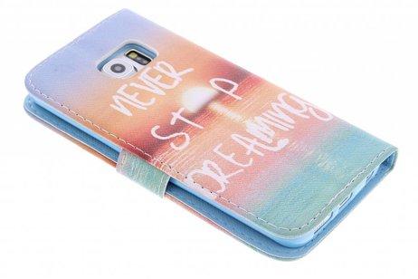 Jamais Arrêter De Rêver La Conception Booktype Case Tpu Pour Samsung Galaxy Alpha oHhABQOwOm