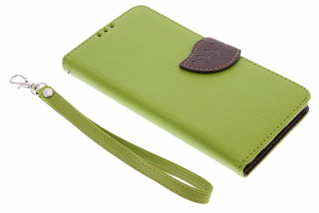Groene blad design TPU booktype hoes voor de Sony Xperia Z3 Plus