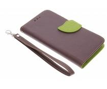 Bruin blad design TPU booktype hoes Sony Xperia E4