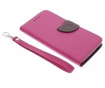 Fuchsia blad design TPU booktype hoes Sony Xperia E4
