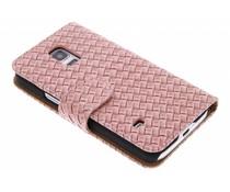 Roze geweven booktype hoes Samsung Galaxy S5 Mini