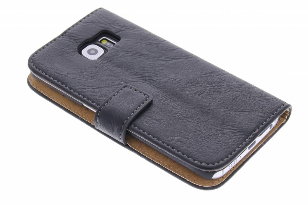 Zwarte kreukellederen booktype hoes voor de Samsung Galaxy S6 Edge