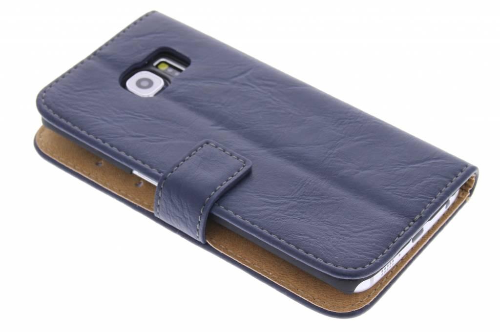 Blauwe kreukellederen booktype hoes voor de Samsung Galaxy S6 Edge