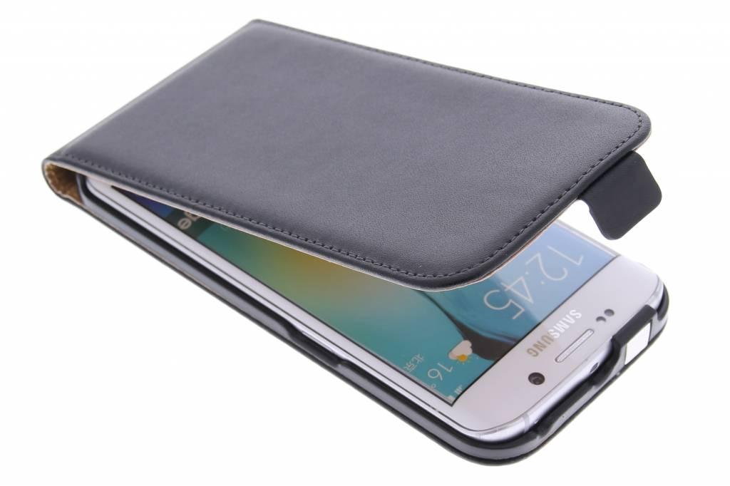 Zwarte luxe flipcase voor de Samsung Galaxy S6 Edge