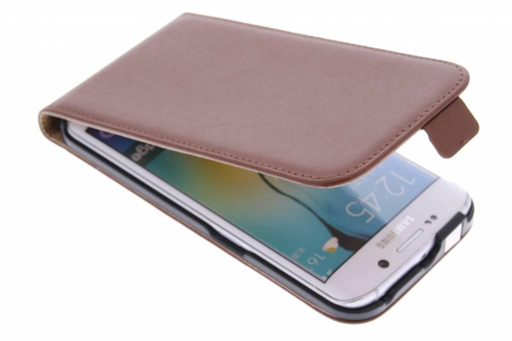 Bruine luxe flipcase voor de Samsung Galaxy S6 Edge