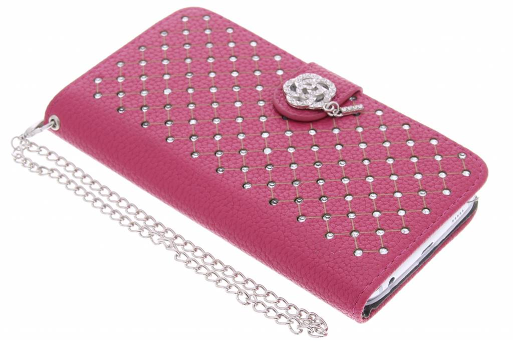 Fuchsia chique strass booktype hoes voor de Samsung Galaxy S6