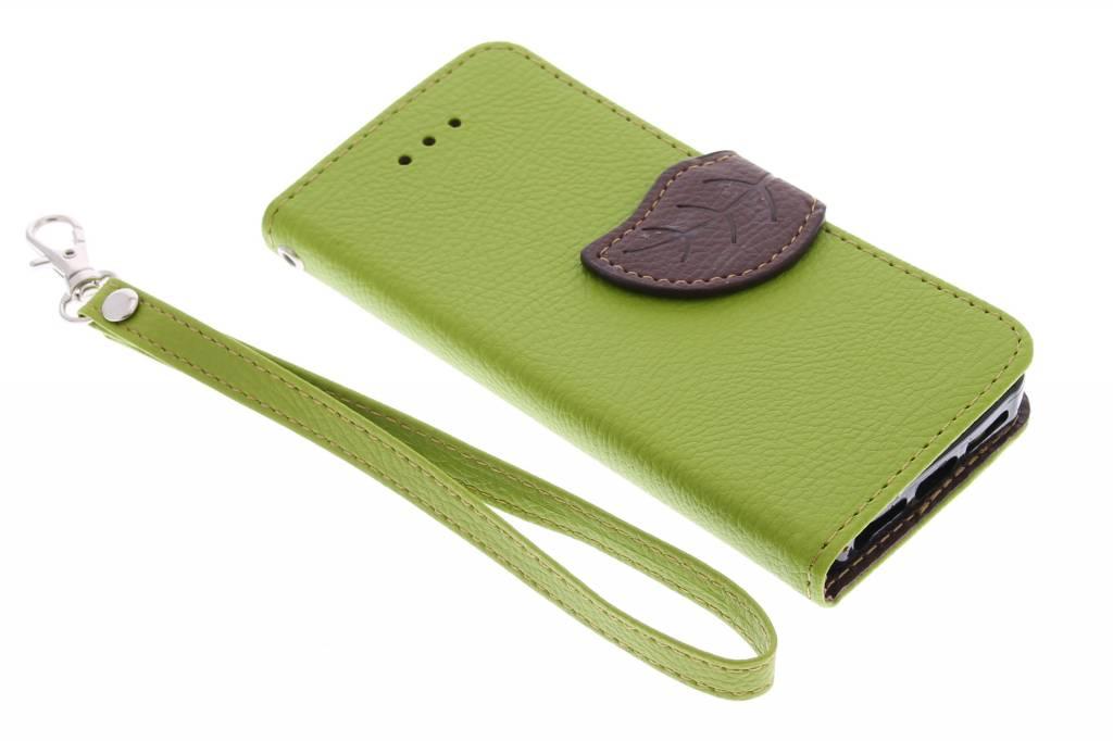 Groene blad design TPU booktype hoes voor de iPhone 5 / 5s / SE