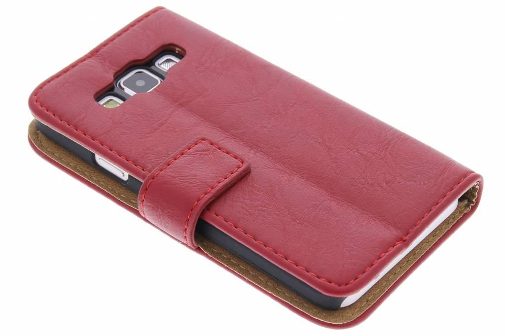 Rode kreukellederen booktype hoes voor de Samsung Galaxy A3