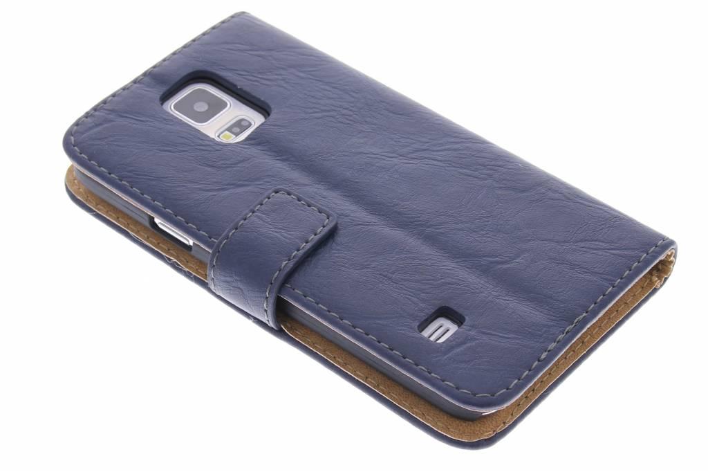 Blauwe kreukellederen booktype hoes voor de Samsung Galaxy S5 (Plus) / Neo