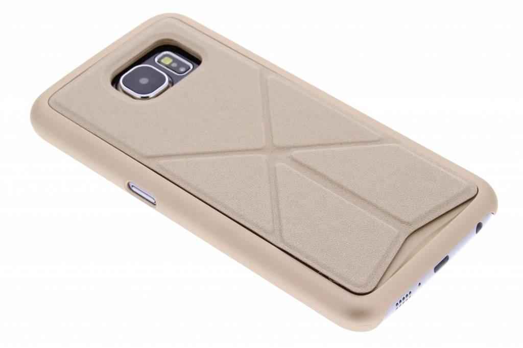 Goud hardcase hoesje met standaard voor de Samsung Galaxy S6