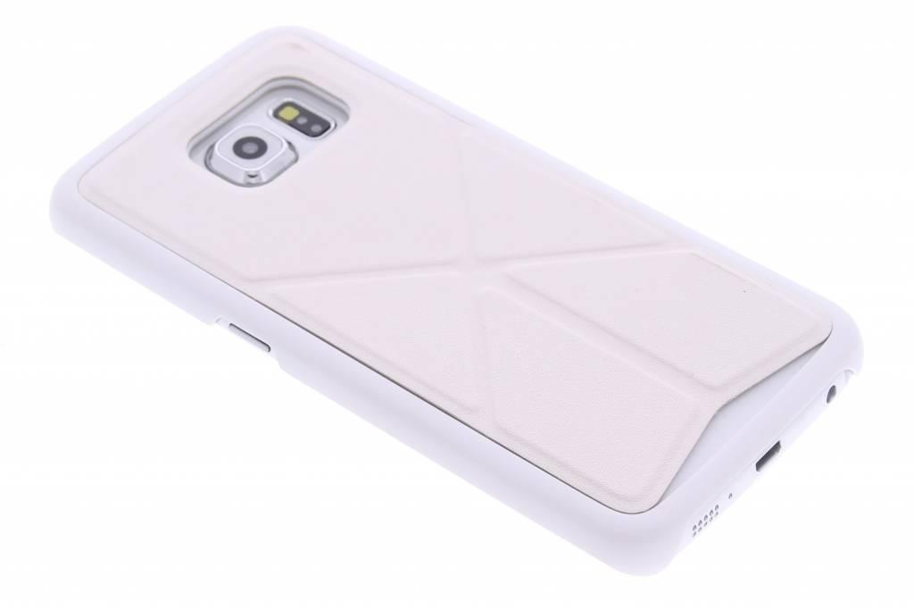 Wit hardcase hoesje met standaard voor de Samsung Galaxy S6 Edge