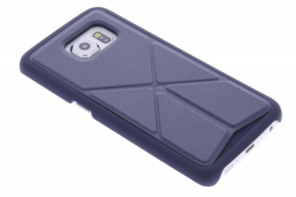 Blauw hardcase hoesje met standaard voor de Samsung Galaxy S6 Edge