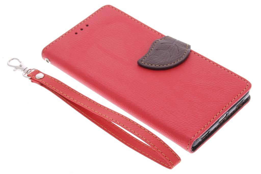 Rode blad design TPU booktype hoes voor de Huawei P8