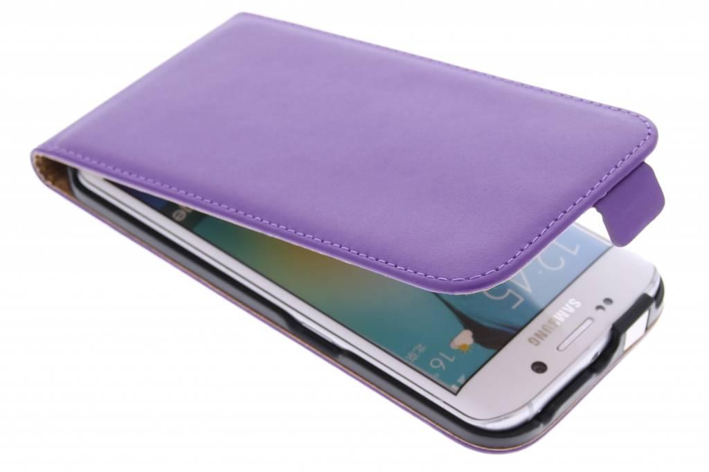 Paarse luxe flipcase voor de Samsung Galaxy S6 Edge
